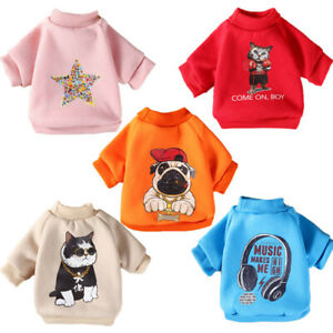 Classic Pet Dog Sweater Jacket Clothes Cartoon Printed Puppy Cat Coat Costumes