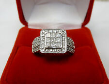 1.57 CTW Pave Princess Diamond Engagement Ring 6.9 grams 14k White Gold Sz 8.75