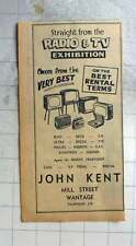 1961 John Kent, Radio Tv Sales Mill Street Wantage