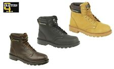 GRAFTERS LEATHER STEEL TOE SAFETY WORK BOOTS BLACK BROWN HONEY SIZE UK 4 - 16 UK