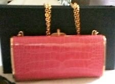 Vintage Judith Leiber Red Crocodile Clutch With Chain and Pink Cabachan