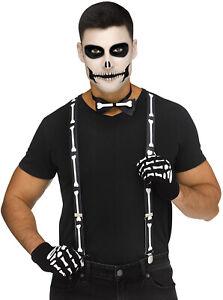 Adult Spooky Skeleton Suspender Kit Gloves Bowtie Halloween Costume Accessory