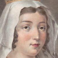 Portrait XVIIIe Blanche de Castille Blanca De Castilla Régente Royaume de France