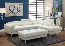 Poundex F6977 White Bonded Leather Sectional Ottoman Sofa Set