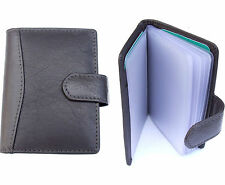 Brown Soft Leather Credit Card Holder Wallet - Tab Fastening for 20 Cards - 602