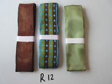 R12 Job Lot 3 Ribbons, Brown and Green