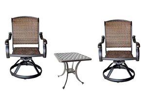 3pc bistro patio set 2 Santa Clara swivel rockers outdoor Nassau end table