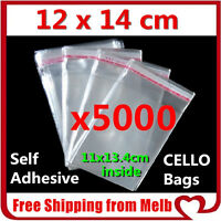 5000 x Cello Bag 120x140mm Cellophane Clear Resealable Plastic Self Adhesive
