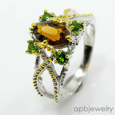 Fineart jewelry Natural Cognac Quartz 925 Sterling Silver Ring Size 8.25/R43082