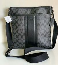 COACH HERITAGE SIGNATURE SMALL ZIP TOP CROSSBODY SLING MESSENGER BAG $268 BLACK
