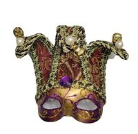 Mardi Gras Purple Green Gold Venetian Jester Mask Christmas Tree Ornament Magnet