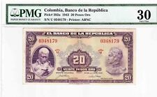 COLOMBIA BANKNOTES $20 1943 PMG CERTIFIED 30