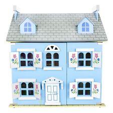Di Legno Blu Villa Casa Delle Bambole Con 30 Pezzi Mobili Luci Leomark