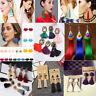 Women Colorful Bohemian Earrings Summer Long Tassel Fringe Boho Dangle Earrings