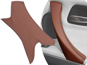 Door Handle Right Side Pull Trim Cover Brown Leather for BMW E90 E91 2004-2012