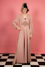 70s does 40s vintage blush nude pink balloon sleeve evening dress maxi dress