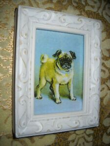 PUG DOG 3 1/2 X 4 1/2 white wood framed animal picture Victorian style art print