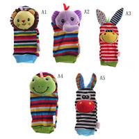Multi shape Soft Toy Animal Infant Kids Hand Wrist Bells Foot Sock Rattles3C