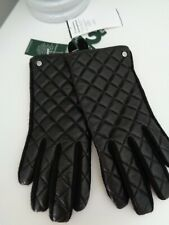 BNWT RLL Ralph Lauren Black Quilted Leather Wool Touch Gloves  M