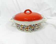 Vintage National Silver Enamel Covered Pot  Dutch Oven Country Village Spain NOS