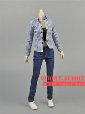 "1/6 Female Plaid Shirt Tank Top Jeans Set For 12"" Phicen Hot Toys Figure ☆USA☆"