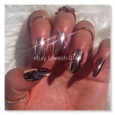 ROSE GOLD FALSE NAILS mirror effect chrome metallic stiletto stick on nail