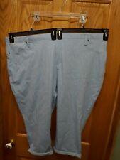 4X Terra & Sky Light Blue Stretch Capri Pants Tummy Control New
