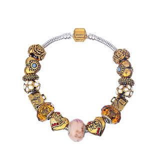 NEW MC Gold OJ Heart Red Rhinestone White Flower Murano Bead Charm Bracelet