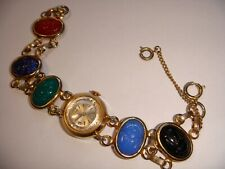 Vintage Lucerne Unbreakable Mainspring Swiss Made Watch Multi Color Scarab Band