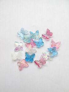 25pcs small glass butterfly beads mix colour jewellery making craft UK