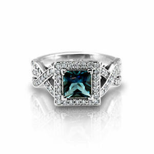 London Blue Topaz, 14K White Gold Plated Sterling Silver Ring, Engagement Ring