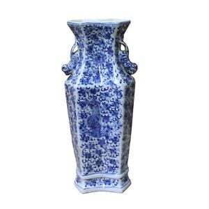 Chinese Blue White Porcelain Floral Double Rhomboid Shape Vase ws1123