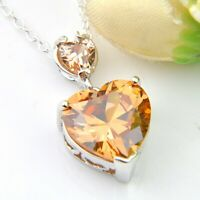 European Heart Style Champagne Morganite Gemstone Silver Charm Necklace Pendants
