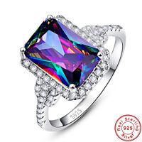 6.7CT Emerald Cut Rainbow Topaz 100% 925 Sterling Silver Ring Size L½ N½ P½ R½