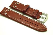 22mm Brown Quality Rivet Style Buffalo-Grain Leather Contrast Stitch Watch Band