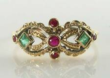 DIVINE 9K 9CT GOLD INDIAN RUBY EMERALD ART DECO INS MASK RING FREE RESIZE