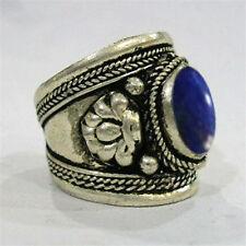 Big Wide Adjustable Tibetan Large Oval Lapis Lazuli Gemstone Dorje Amulet Ring