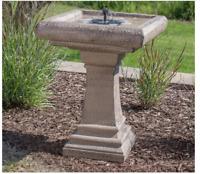 Outdoor Bird Bath Solar Pedestal Cement Stone Finish Garden Patio Pump Greek