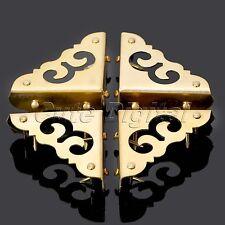 "4Pcs Decorative Antique Brass Furniture Jewelry Box Corners Cover Protector 1.2"""
