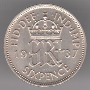 United Kingdom 6d Sixpence 1937 Silver (.500) Coin- GRI Monogram