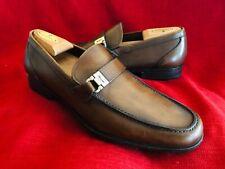 "Salvatore Ferragamo ""Tazio"" Brown Leather Dress Loafers Shoes Men's 10 D"