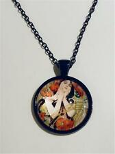 BLACK PENDANT - ART NOUVEAU PAINTING BY ALPHONSE MUCHA - FREE UK P&P.....CG1113