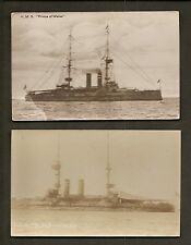 2 REAL-PHOTO POSTCARDS:  HMS PRINCE OF WALES - BRITISH ROYAL NAVY WW1 BATTLESHIP