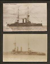 2 REAL-PHOTO POSTCARDS:  HMS PRINCE OF WALES - BRITISH ROYAL NAVY WW1 BATTLESHIP
