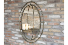 99cm Oval Industrial Style Distressed Bronze Mirror with Shelf Retro Style Large