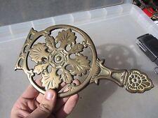 Victorian Brass Fireside Trivet Kettle Stand Gilt Leaf Antique Old Georgian