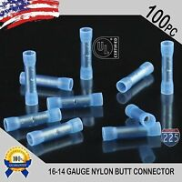 100 Pack 16-14 Gauge Wire Butt Connector Blue Nylon 16-14 AWG PRO Crimp Terminal