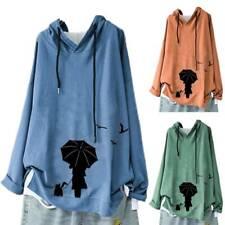 Women's Long Sleeve Printed Hooded Hoody Hoodies Baggy Casual Pullover Plus Size