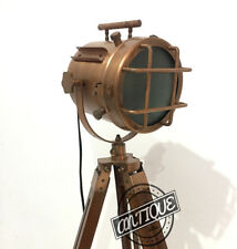 Antique Style ~ E27 FLOOR LAMP with TRIPOD Nautical Searchlight Stand SPOTLAMPS