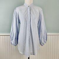 SIZE Large L Ralph Lauren Balloon Sleeve Button Up Shirt Top Blouse Women's NWT